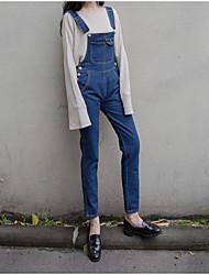 assinar a Coreia do Instituto de vento pequenas retro macacão jeans soltas frescos calças siameses