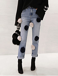 Spring 2017 Korean version of the new trend leading independent real rabbit fur ball decorative waist jeans Nagymaros