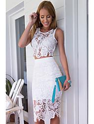 Röcke,A-Linie einfarbig Tüll,Arbeit Vintage Mittlere Hüfthöhe Über dem Knie Elastizität Kunstseide Micro-elastisch Sommer