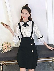 Sign strap dress 2017 spring new two-piece female sleeve lace shirt Slim