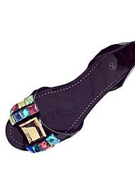 Damen-Sandalen-Lässig-PU-Flacher Absatz-Komfort-Schwarz Mandelfarben