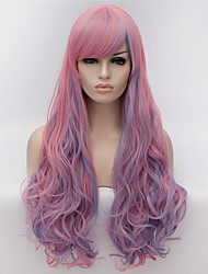 Cosplay Wigs Europe and the United States Wig Fashion Side Pink Highlights 30 inch Long Curly Hair