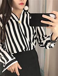 firmar la primavera 7901 nuevo coreano cuello en V manga larga a rayas verticales chil viento camisa de la gasa blusas
