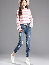 Sign bf 2017 spring women's large size jeans female feet nine hole beggar pants loose elastic waist