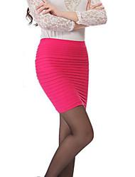 Röcke,Bodycon Gestreift Chiffon,Ausgehen Lässig/Alltäglich Einfach Mittlere Hüfthöhe Über dem Knie Reisverschluss Baumwolle Acryl Elasthan