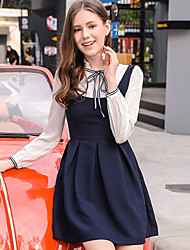 Mujer Línea A Vestido Noche Bonito,Un Color Escote Chino Sobre la rodilla Manga Larga Poliéster Otoño Tiro Medio Microelástico Medio