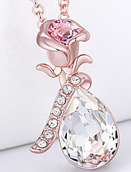 Pendant Necklaces Crystal Crystal Flower Basic Dangling Style Pink Jewelry Daily Casual 1pc