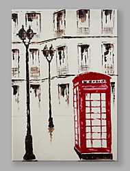 IARTS Modern Abstract Landscape Painting Red Telephone Booth Wall Art For Home Decor Stretchered Ready To Hang