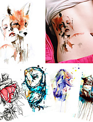 5 Pieces Body Tattoo for Women Men Back Leg Chest Art Sticker Temporary Fox Cat Decal Colored