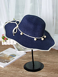 String of Pearls Straw Sun Hat Outdoor BeachUv Lady Wide Large Brim Floppy Sunscreen Foldable Cap