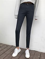 хань пел новую корейская реальный выстрел сплошного цвета высокой талии денима брюки нога женщины флеш брюки ремонта ног