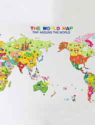Wall Stickers Wall Decals Style Cartoon World Map PVC Wall Stickers