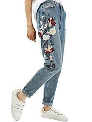 Тяжелая вышивка цветы большой европейский и американский джинсы микро гарем брюки весна 2017 женщины&Новая внешняя торговля