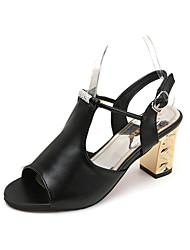 Damen-Sandalen-Lässig-PU-Blockabsatz-Komfort-Weiß Schwarz