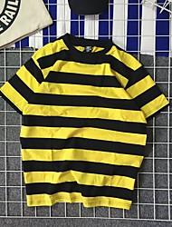 Damen Solide Gestreift Einfach Lässig/Alltäglich T-shirt,Rundhalsausschnitt Kurzarm Baumwolle