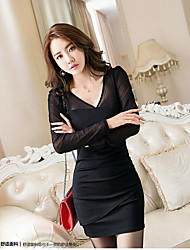Women's Going out Bodycon Dress,Solid V Neck Above Knee Long Sleeve Polyester Spring Summer High Rise Inelastic Medium