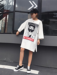 реальный выстрел был тонким диких моды прилива отверстия свободного характером печати длинного отрезок с короткими рукавами футболки