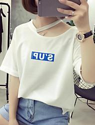 2017 Modell real shot Sommer koreanischen Institut für Wind Halfter Briefe gedruckt Kurzarm T-Shirt weiblichen Flut