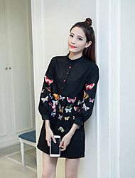 Sign in early spring 2017 Heavy embroidered butterfly simple blouse shirt Slim fashion wild long-sleeved shirt