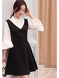 Sign 2017 spring new Korean loose stitching fake two round neck horn sleeve dress