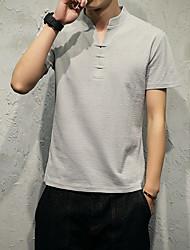 t-shirt da cor v-neck sólida macho magro shirt curto modelo japonês