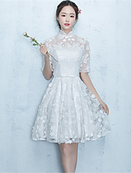 Knee-length Lace Floral Bridesmaid Dress - Ball Gown Halter with Lace