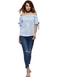 Damen Solide Einfach Lässig/Alltäglich T-shirt,Schulterfrei ½ Länge Ärmel Polyester