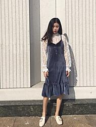 Sign chic style Korean velvet harness dress