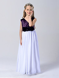 Princess Ankle-length Flower Girl Dress - Chiffon Cotton Satin Chiffon V-neck with Draping Flower(s)