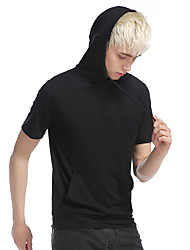 Herren Solide Einfach Lässig/Alltäglich T-shirt,Mit Kapuze Kurzarm Baumwolle