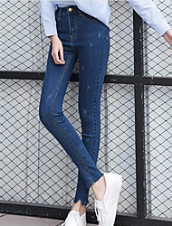 Women's High Rise Stretchy Jeans Pants,Street chic Slim Solid