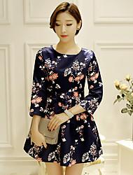 Sign new Korean fashion printed nine points sleeve ladies temperament was thin waist A-line dress Tee
