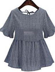 2016 mujeres de gran tamaño nuevo verano de grasa mm hembra a rayas de manga corta camisa de jersey era delgada