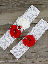 2pcs/set Red And White Satin Lace Chiffon Beading Wedding Garter