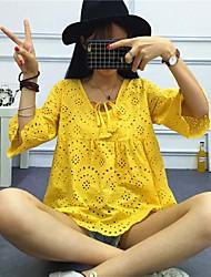 Damen Solide Einfach Lässig/Alltäglich T-shirt,V-Ausschnitt Kurzarm Seide