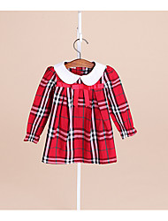 Girl's Casual/Daily Plaid Dress,Cotton Spring Fall Long Sleeve