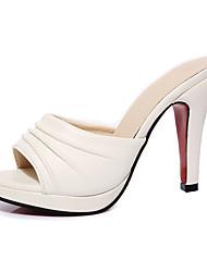 Damen-Slippers & Flip-Flops-Lässig-PU-Stöckelabsatz-Fersenriemen-Weiß Schwarz