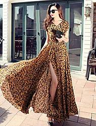 Slit sexy leopard chiffon long summer dress big swing length skirt large size women