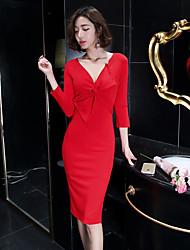 2017 Hitz coreano mulheres senhoras magro do decote em V dobras fendas vestido