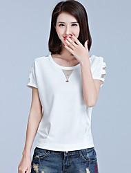Damen Solide Einfach Lässig/Alltäglich Urlaub T-shirt,Rundhalsausschnitt Sommer Kurzarm Baumwolle Mittel