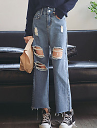 Women's Low Rise Micro-elastic Jeans Pants,Sexy Wide Leg Ripped Solid