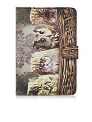 For Apple iPad Mini 4 3 2 1 Case Cover Owl Pattern Painted Card Stent Wallet PU Skin Material Flat Protective Shell