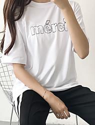 Un été de tir nouvelles lettres brodées en vrac coton à manches courtes T-shirt coréen étudiantes chemise décontractée