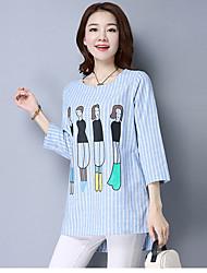 2017 signe printemps nouvelles femmes&# 39; impression de t-shirt en coton rayé grande taille chemise manches théâtre