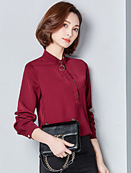 Sign 2017 spring new Korean loose chiffon shirt female long-sleeved satin collar bottoming