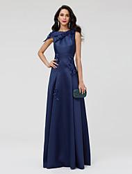 A-Linie Ein-Schulter Boden-Länge Satin Formeller Abend Kleid mit Perlenstickerei Blume(n) Plissee durch TS Couture®