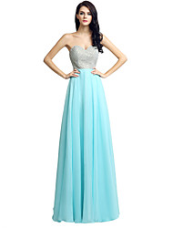 Sheath / Column Sweetheart Floor Length Chiffon Formal Evening Dress with Beading