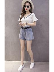 signer les nouveaux korean haute taille large short denim jambe short loose femmes verges gros était mince un pantalon de mot