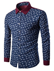 Men 's Fashion Personality Leisure Trend Printing British Temperament Long - Sleeved Shirt