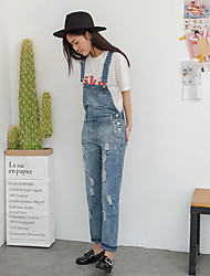 Sign spring denim overalls Siamese female models loose casual pants Korean Institute of wind long hole